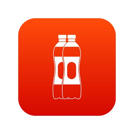Two plastic bottles icon digital red
