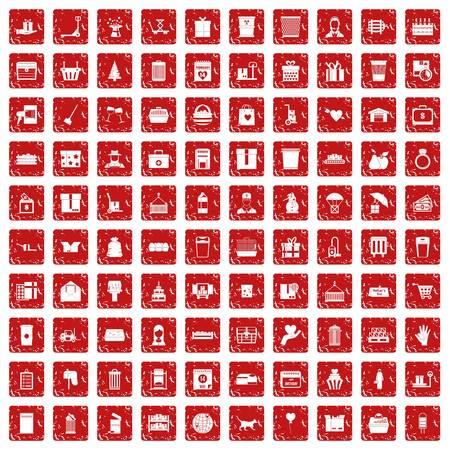 100 box icons set grunge red 일러스트