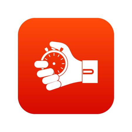 Hand holding stopwatch icon digital red for any design isolated on white vector illustration