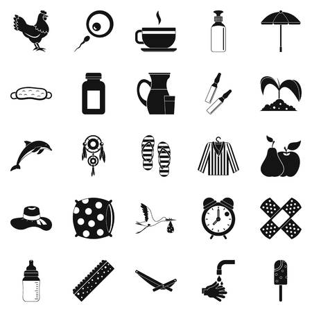 Kid viability icons set. Simple set of 25 kid viability vector icons for web isolated on white background Фото со стока - 91382442