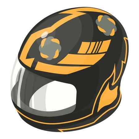Helmet motorcycle orange icon. Illustration