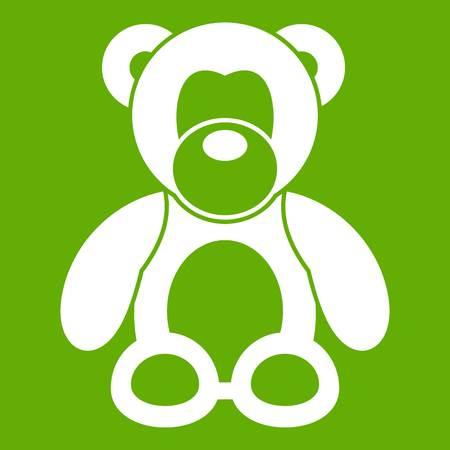 Teddy bear icon white isolated on green illustration. Stock Illustratie