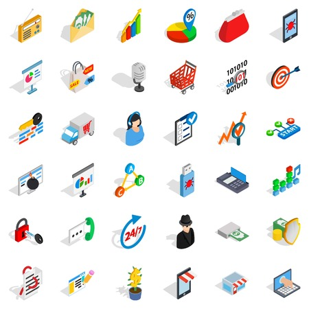All day business icons set. Isometric style of 36 all day business vector icons for web isolated on white background