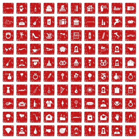 100 wedding icons set in grunge style red color isolated on white background vector illustration Çizim