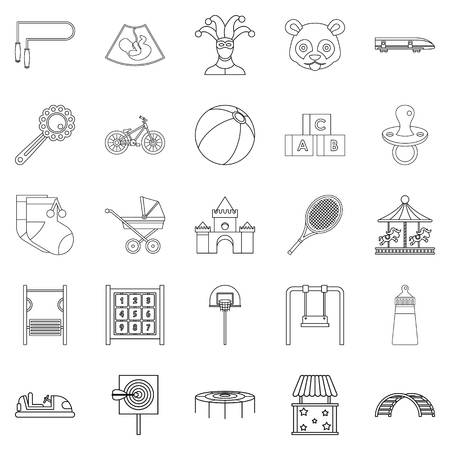 Cradle icons set. Outline set of 25 cradle vector icons for web isolated on white background