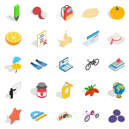 Children age icons set. Isometric set of 25 children age vector icons for web isolated on white background Illustration