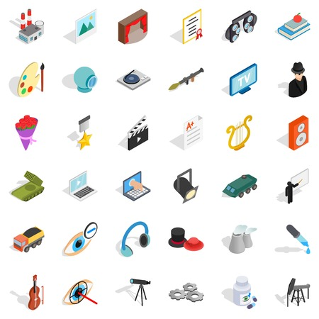 Recruiter icons set. Isometric style of 36 recruiter vector icons for web isolated on white background 일러스트