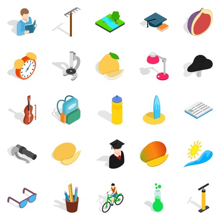 School upbringing icons set. Isometric set of 25 school upbringing vector icons for web isolated on white background Illustration