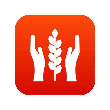 Hands and ear of wheat icon digital red for any design isolated on white vector illustration