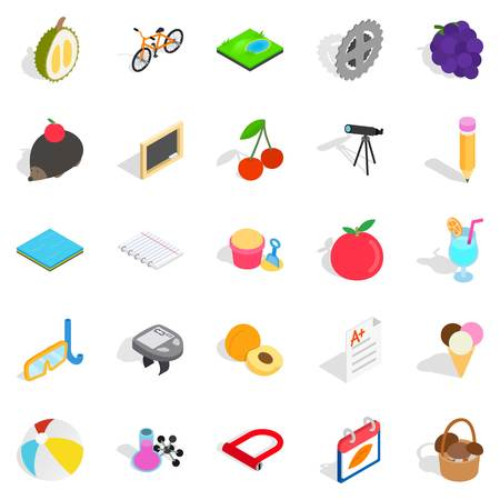Education of children icons set. Isometric set of 25 education of children vector icons for web isolated on white background Иллюстрация
