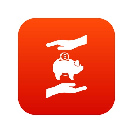 Piggy bank and hands icon digital red for any design isolated on white vector illustration