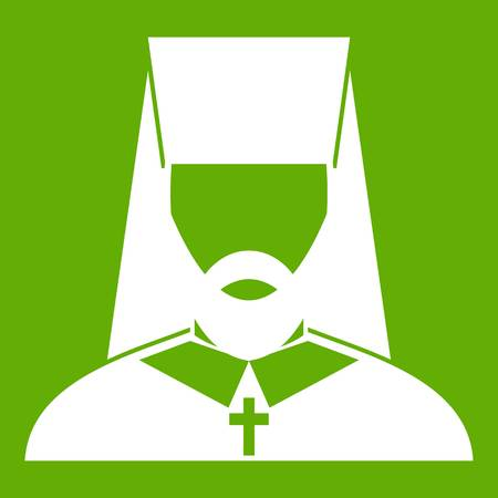 Orthodox priest icon white isolated on green background. Vector illustration