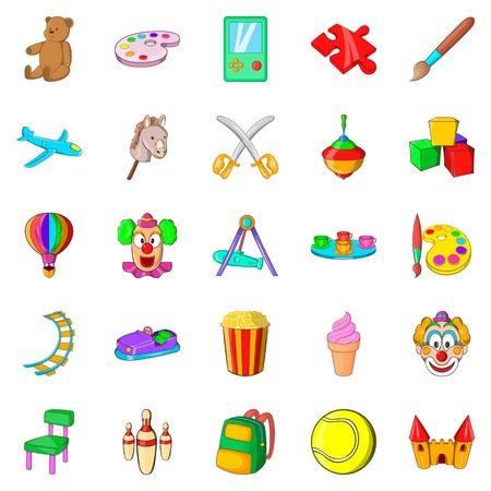 Children playground icons set, cartoon style Illustration