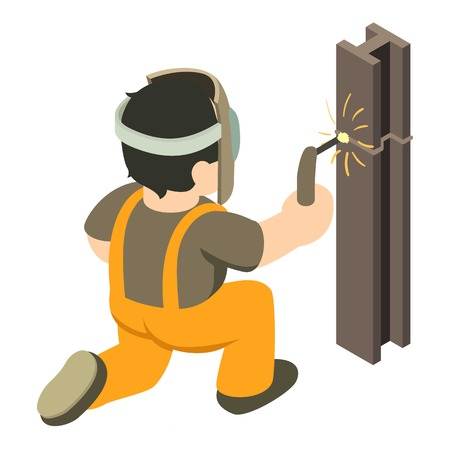 Builder welder icon, isometric 3d style
