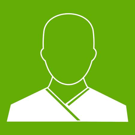 Buddhist monk icon white isolated on green background. Vector illustration
