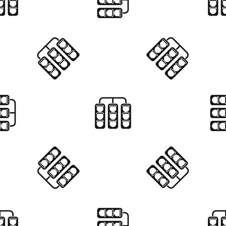 Traffic lights pattern repeat seamless in black color for any design. Vector geometric illustration