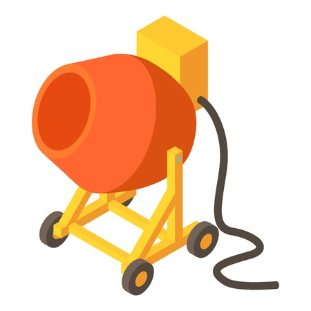 Concrete mixer icon. Isometric illustration of concrete mixer vector icon for web