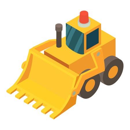 Bulldozer icon. Isometric illustration of bulldozer vector icon for web Illustration