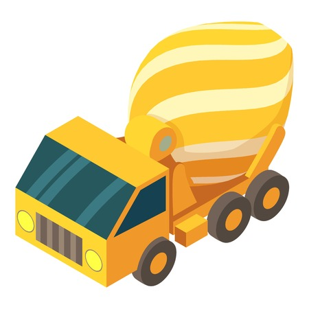 Concrete mixer truck icon. Isometric illustration of concrete mixer truck vector icon for web