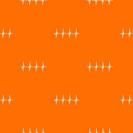Musical pulse pattern repeat seamless in orange color for any design. Vector geometric illustration