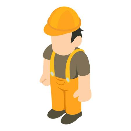 Builder person icon. Isometric illustration of builder person vector icon for web Illustration