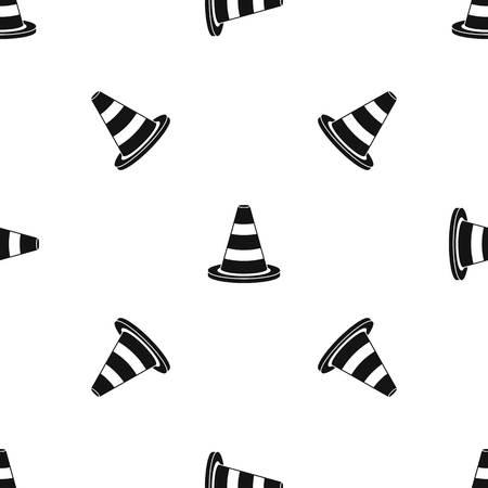 Verkeerskegelpatroon herhaal naadloos in zwarte kleur voor elk ontwerp. Vector geometrische illustratie