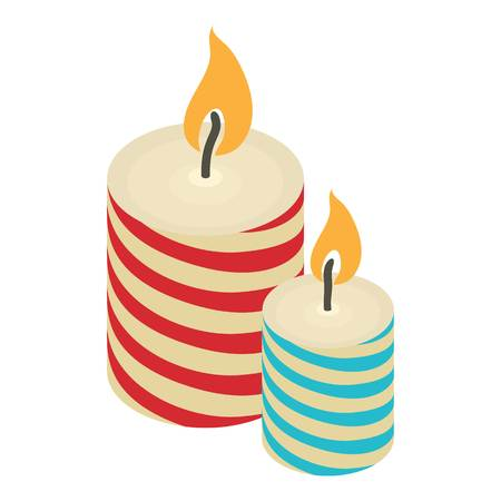 Christmas candle icon. Isometric illustration of christmas candle vector icon for web