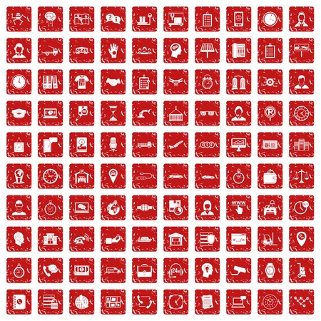 100 working hours icons set in grunge style red color isolated on white background vector illustration