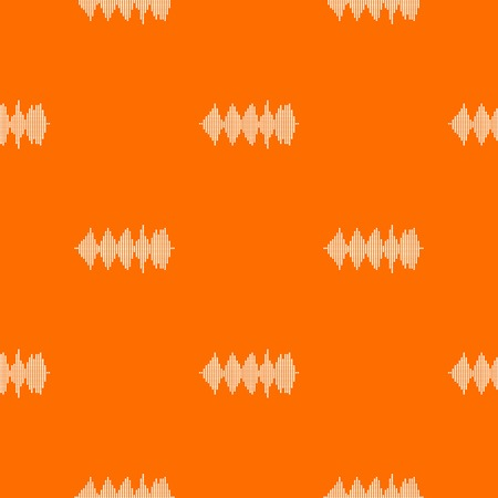 Audio digital equalizer technology pattern repeat seamless in orange color for any design. Vector geometric illustration
