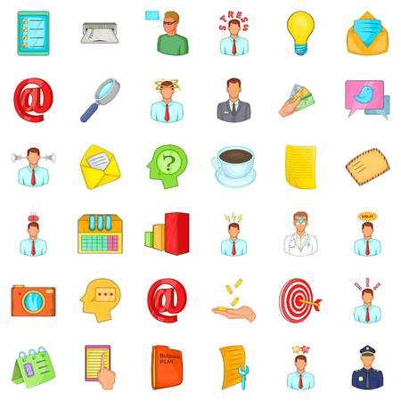 Business information icons set. Cartoon style of 36 business information vector icons for web isolated on white background