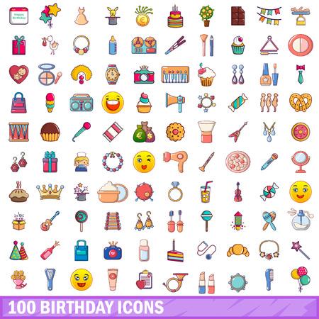 100 birthday icons set in cartoon style. Illusztráció