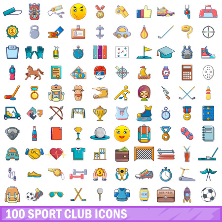 100 icônes de club de sport en style cartoon. Banque d'images - 91607028