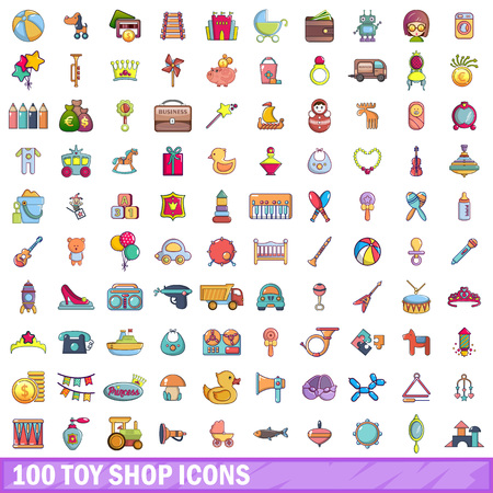 100 toy shop icons set in cartoon style.