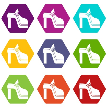 Women shoe icon set many color hexahedron isolated on white vector illustration Illustration
