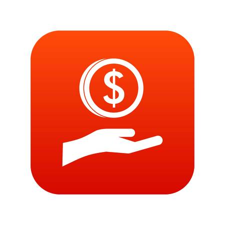 Hand and dollar coin icon digital red for any design isolated on white vector illustration