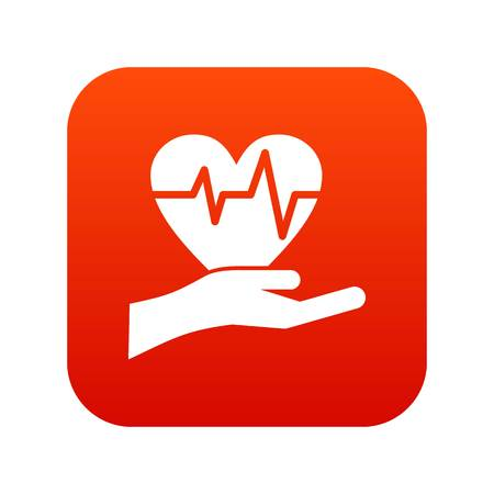Hand holding heart with ecg line icon. Illustration