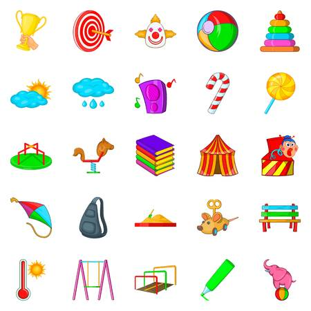 Baby toy icons set. Cartoon set of 25 baby toy vector icons for web isolated on white background Illustration