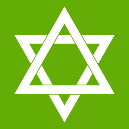 Star of David icon white isolated on green background. Vector illustration