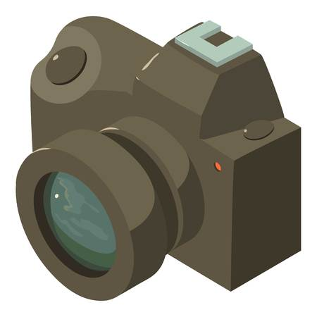 Camera icon. Isometric illustration of camera vector icon for web