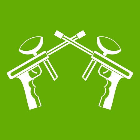 Paintball guns icon green illustration.