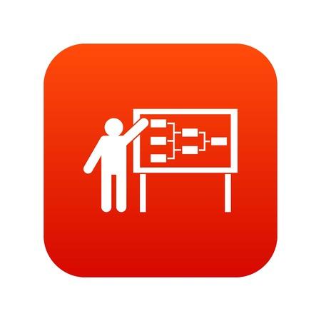 Man and presentation screen icon.