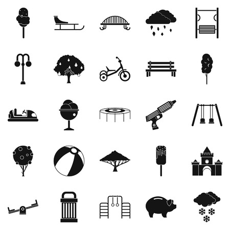 Big park icons set in simple style.