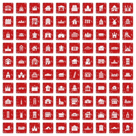 100 building icons set in grunge style red color isolated on white background vector illustration