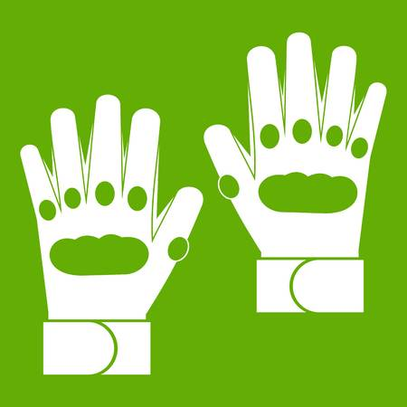 Pair of paintball gloves icon white isolated on green background. Vector illustration Illustration