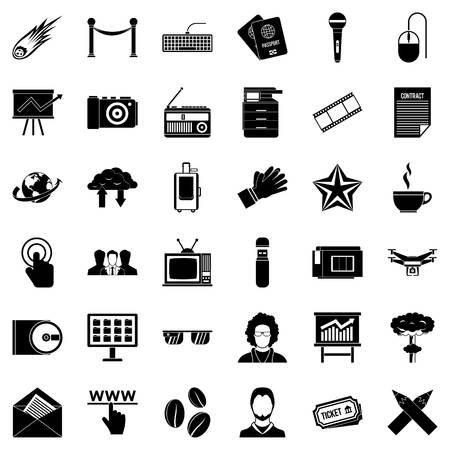 Press icons set. Simple style of 36 press vector icons for web isolated on white background