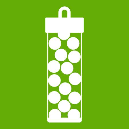 Pack with paintball bullets icon white isolated on green background. Vector illustration Illustration