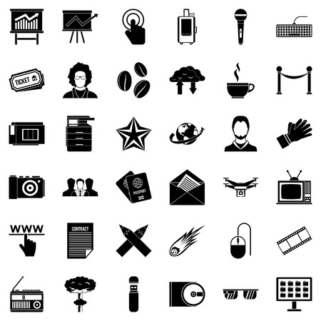 Broadcasting icons set. Simple style of 36 broadcasting vector icons for web isolated on white background Ilustracja