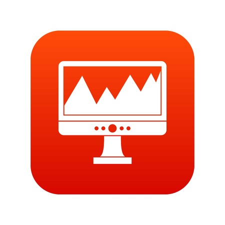 Monitor and a chart icon digital red for any design isolated on white vector illustration