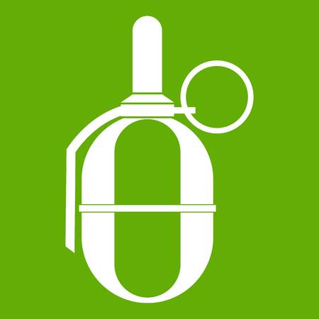 Hand paintball grenade icon white isolated on green background. Vector illustration
