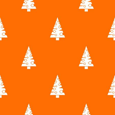 Christmas tree pattern repeat seamless in orange color for any design. Vector geometric illustration